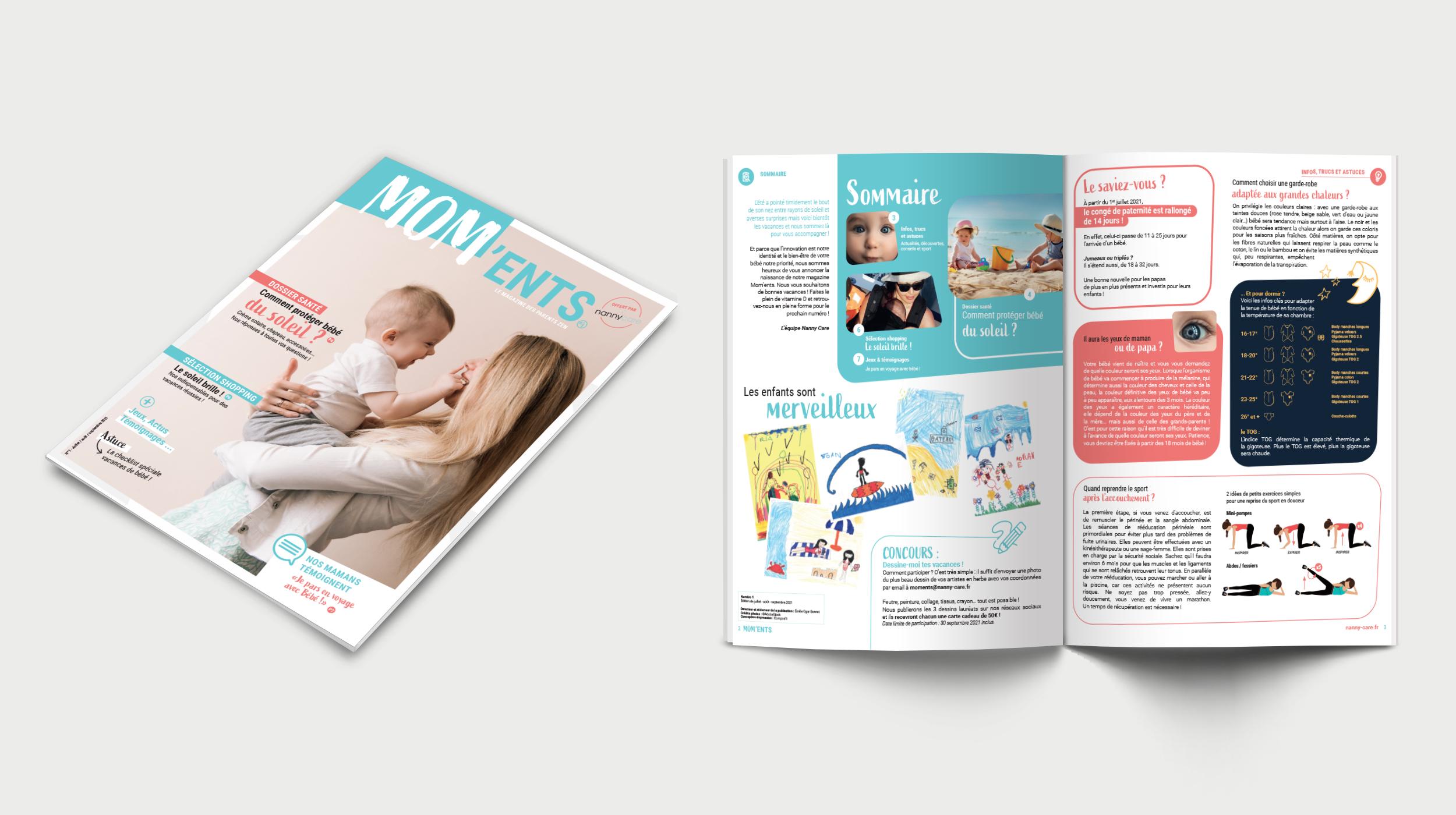 Carnet rose : Mom'ents, le nouveau magazine des parents zen de Nanny Care